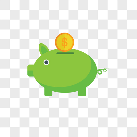 Piggy bank vector icon isolated on transparent background, Piggy bank logo concept Illustration