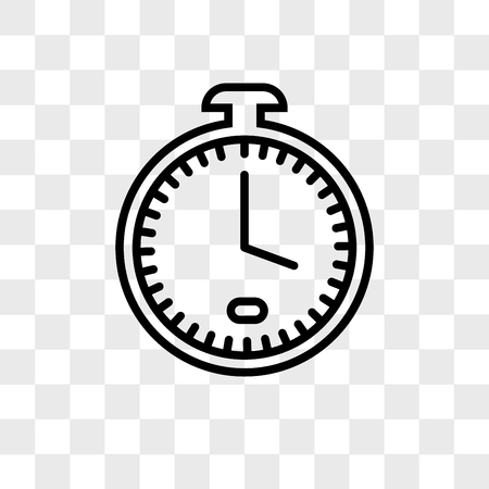 Clock vector icon isolated on transparent background, Clock logo concept