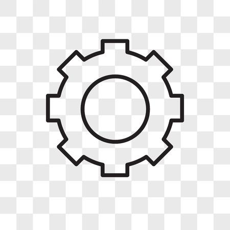 Icono de vector de engranaje aislado sobre fondo transparente, concepto de logo de engranaje