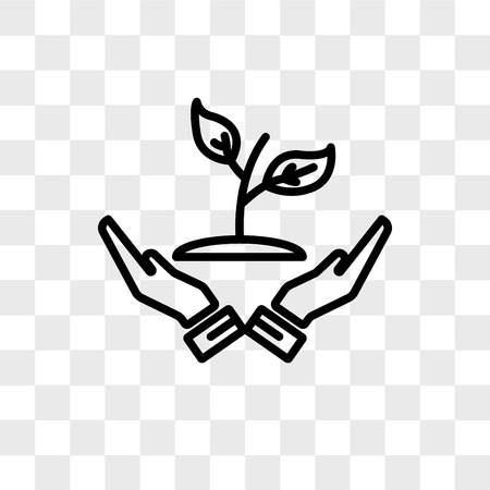 Grow plant vector icon isolated on transparent background, Grow plant logo concept
