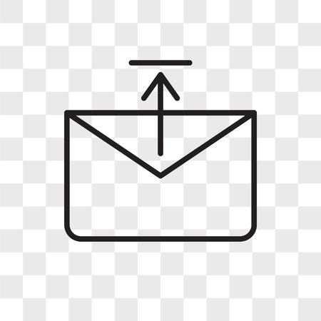 Icono de vector de bandeja de salida aislado sobre fondo transparente, concepto de logo de bandeja de salida