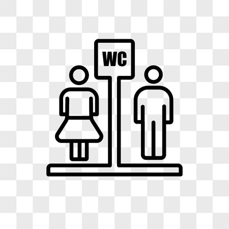 Toilet vector icon isolated on transparent background, Toilet logo concept