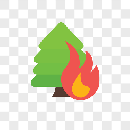 Forest fire vector icon isolated on transparent background, Forest fire logo concept