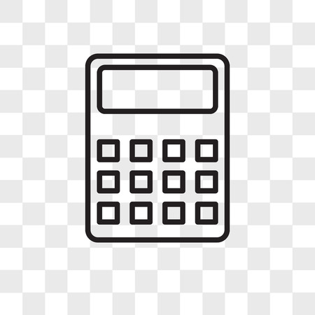 Calculator vector icon isolated on transparent background, Calculator logo concept Stock Illustratie