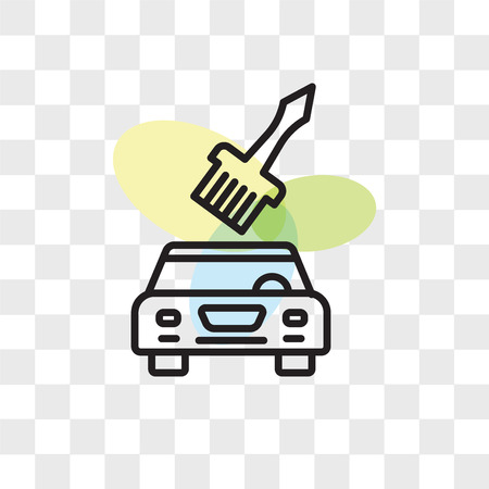 Car painting vector icon isolated on transparent background, Car painting logo concept