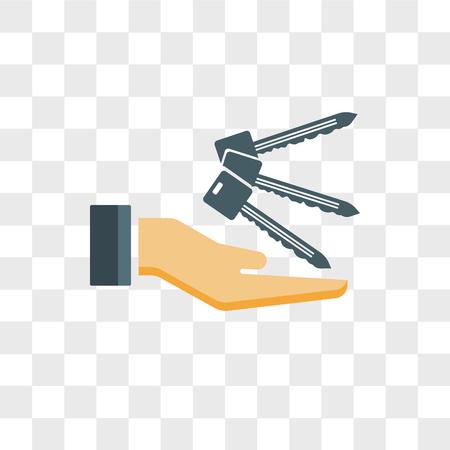 Icône de vecteur clé isolé sur fond transparent, concept logo clé