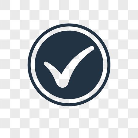 Icône de vecteur vérifié isolé sur fond transparent, concept logo vérifié