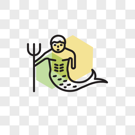 Merman vector icon isolated on transparent background, Merman logo concept