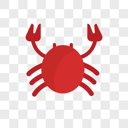 Crab vector icon isolated on transparent background, Crab logo concept Illustration