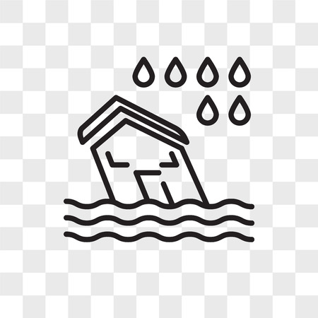 Flood vector icon isolated on transparent background, Flood logo concept Vectores