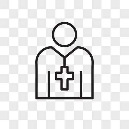 Priest vector icon isolated on transparent background, Priest logo concept