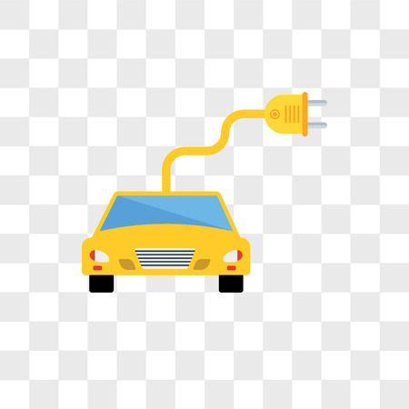 electro car vector icon isolated on transparent background, electro car logo concept