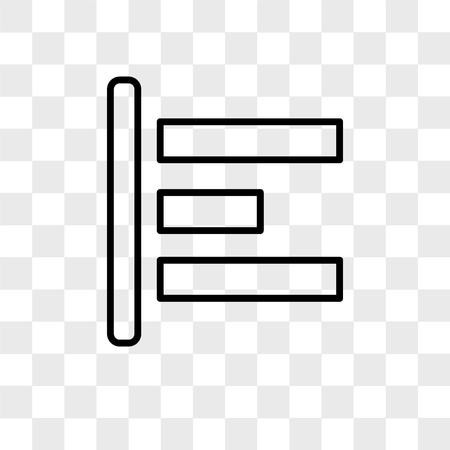 Align left vector icon isolated on transparent background, Align left logo concept