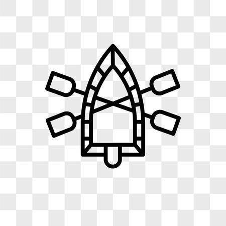 Icône de vecteur de radeau isolé sur fond transparent, concept logo radeau