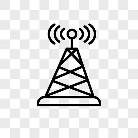 Icona di vettore dell'antenna isolato su sfondo trasparente, concetto di marchio dell'antenna