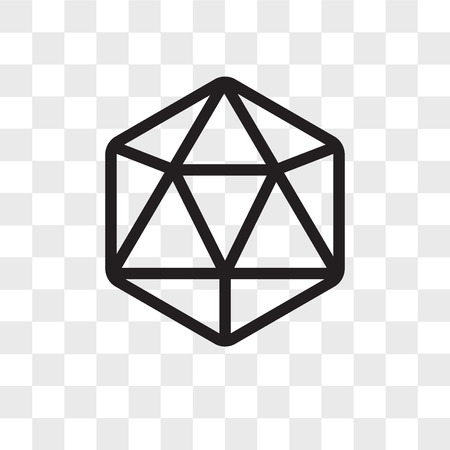 Icosahedron vector icon isolated on transparent background, Icosahedron logo concept