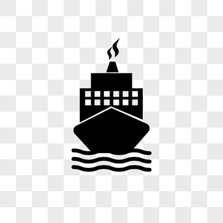 Boat from front view vector icon isolated on transparent background, Boat from front view logo concept
