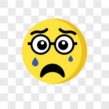 Icono de vector de emoji llorando aislado sobre fondo transparente, concepto de logo de emoji llorando