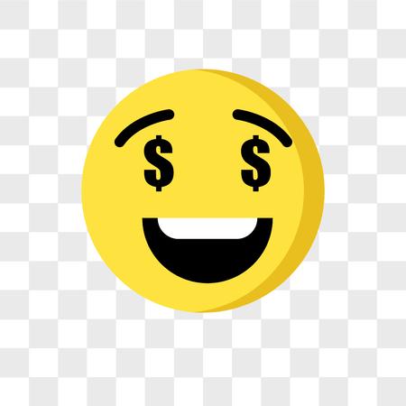 Greed emoji vector icon isolated on transparent background, Greed emoji logo concept Illustration