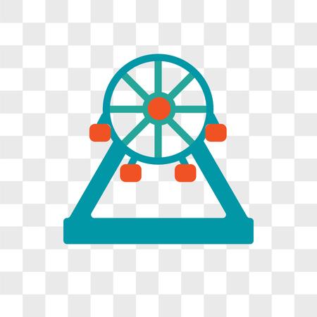 Icona di vettore della ruota panoramica isolato su sfondo trasparente, concetto di marchio della ruota panoramica Vettoriali
