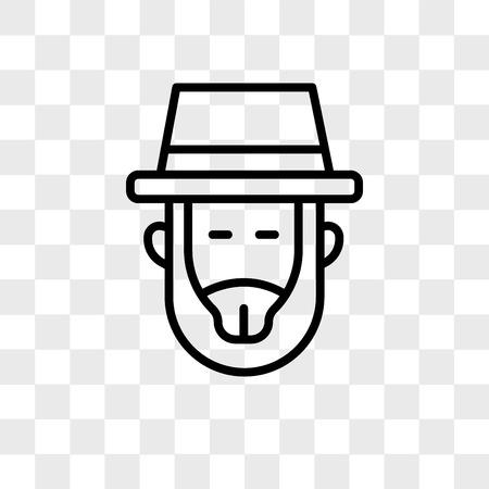 Icono de vector de rabino aislado sobre fondo transparente, concepto de logo de rabino