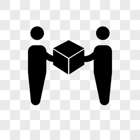 Levering werknemer een doos geven aan een ontvanger vector pictogram geïsoleerd op transparante achtergrond, levering werknemer een doos geven aan een ontvanger logo concept