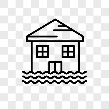 Flooded house vector icon isolated on transparent background, Flooded house logo concept