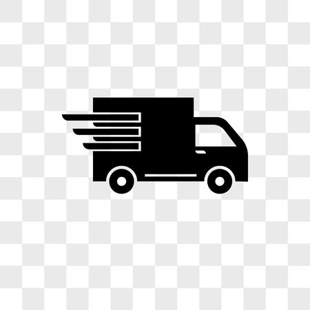 Camion di consegna di logistica in icona di vettore di movimento isolato su sfondo trasparente, camion di consegna di logistica nel concetto di logo di movimento Logo