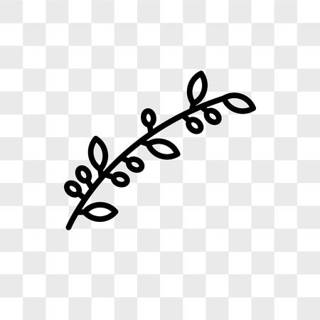 Icona di vettore di ramo d'ulivo isolato su sfondo trasparente, concetto di marchio di ramo d'ulivo