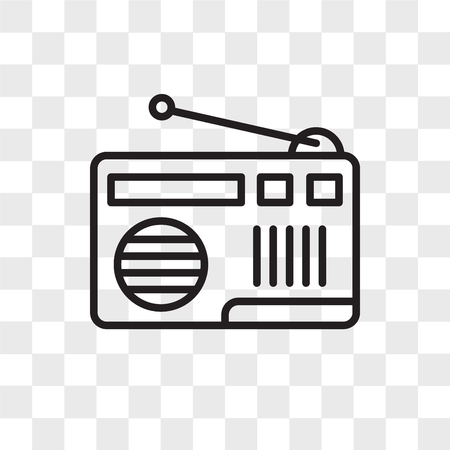 Radio vector icon isolated on transparent background, Radio logo concept