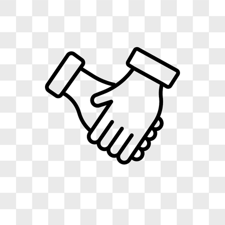 Icono de vector de apretón de manos aislado sobre fondo transparente, concepto de logo de apretón de manos Logos