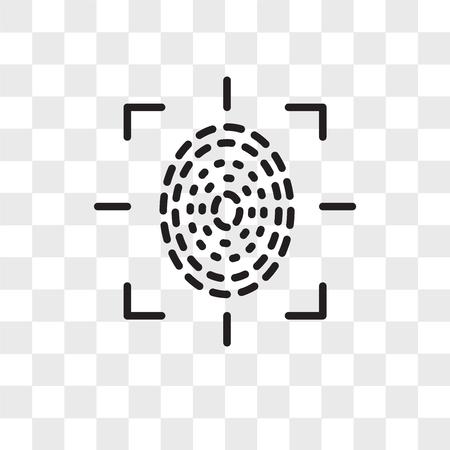 Fingerprint scan vector icon isolated on transparent background, Fingerprint scan logo concept Illustration