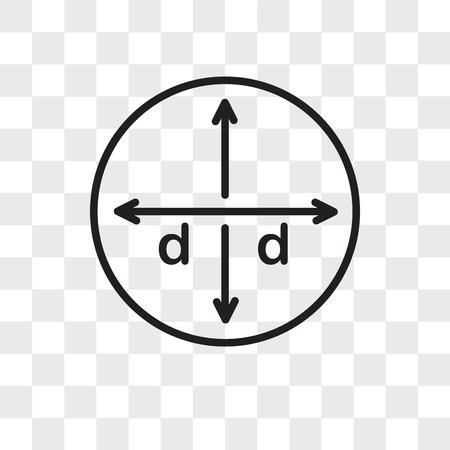 Durchmesservektorikone lokalisiert auf transparentem Hintergrund, Durchmesserlogokonzept Logo