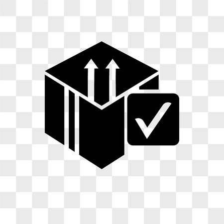 Delive box verification vector icon isolated on transparent background, Delive box verification logo concept
