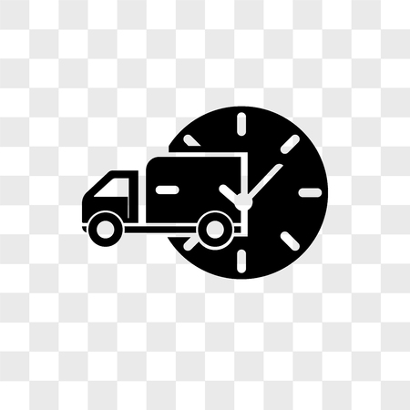 Delivery truck with circular clock vector icon isolated on transparent background, Delivery truck with circular clock logo concept