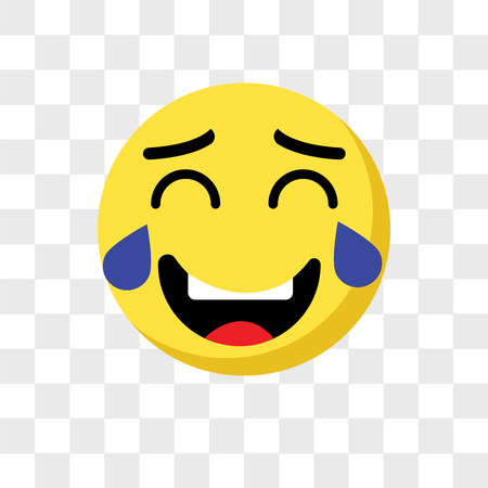 Laughing emoji vector icon isolated on transparent background, Laughing emoji logo concept