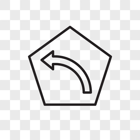Turn left vector icon isolated on transparent background, Turn left logo concept