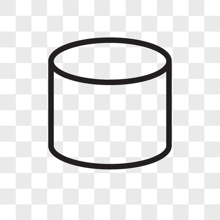 Cylinder vector icon isolated on transparent background, Cylinder logo concept