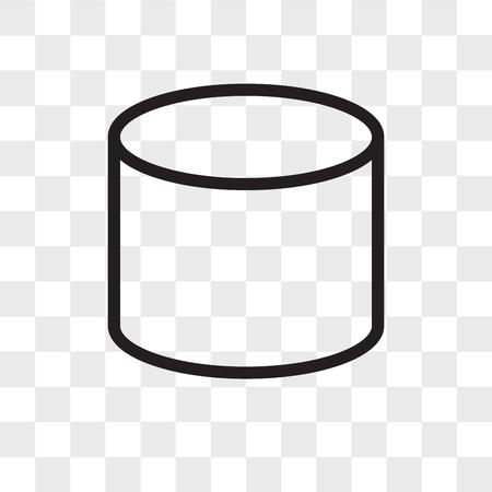 Icona di vettore del cilindro isolato su sfondo trasparente, concetto di marchio del cilindro Vettoriali