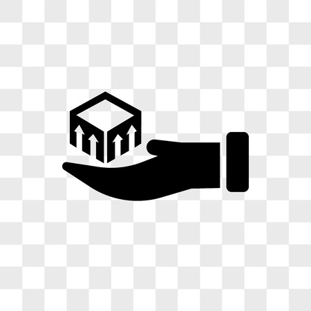 Package delivery in hand vector icon isolated on transparent background, Package delivery in hand logo concept Çizim