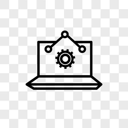 Laptop Analysis vector icon isolated on transparent background, Laptop Analysis logo concept Illustration