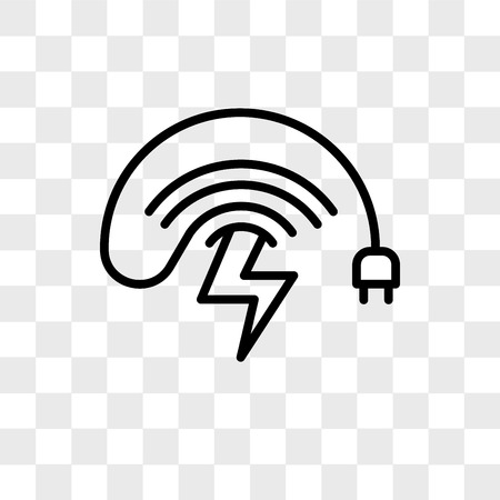 wireless charging vector icon isolated on transparent background, wireless charging logo concept Vectores