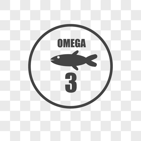 omega 3 vector icon isolated on transparent background, omega 3 logo concept