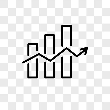 Decreasing stocks bars vector icon isolated on transparent background, Decreasing stocks bars logo concept