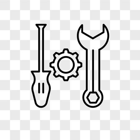 Icône de vecteur d'outils isolé sur fond transparent, concept logo outils Logo