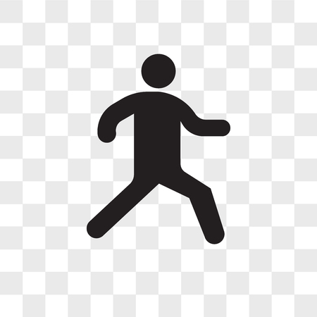 Running person vector icon isolated on transparent background, Running person logo concept