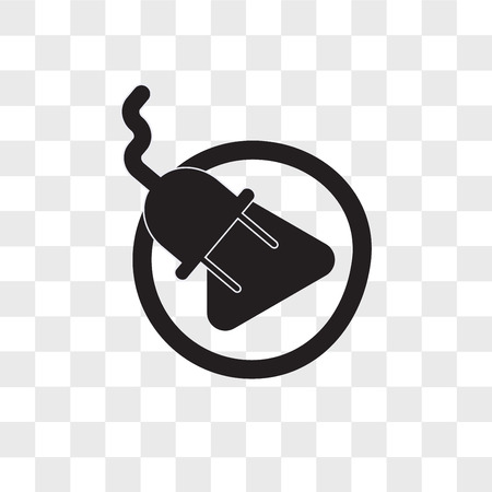 plug and play vector icon isolated on transparent background, plug and play logo concept