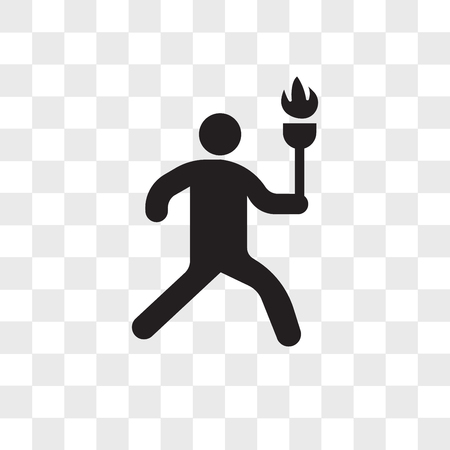 Man running with sport torch vector icon isolated on transparent background, Man running with sport torch logo concept Illustration
