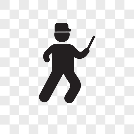 Running cop vector icon isolated on transparent background, Running cop logo concept Illustration
