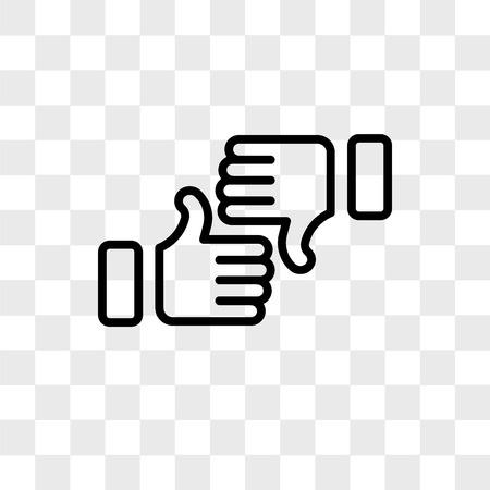Pulgar arriba icono de vector aislado sobre fondo transparente